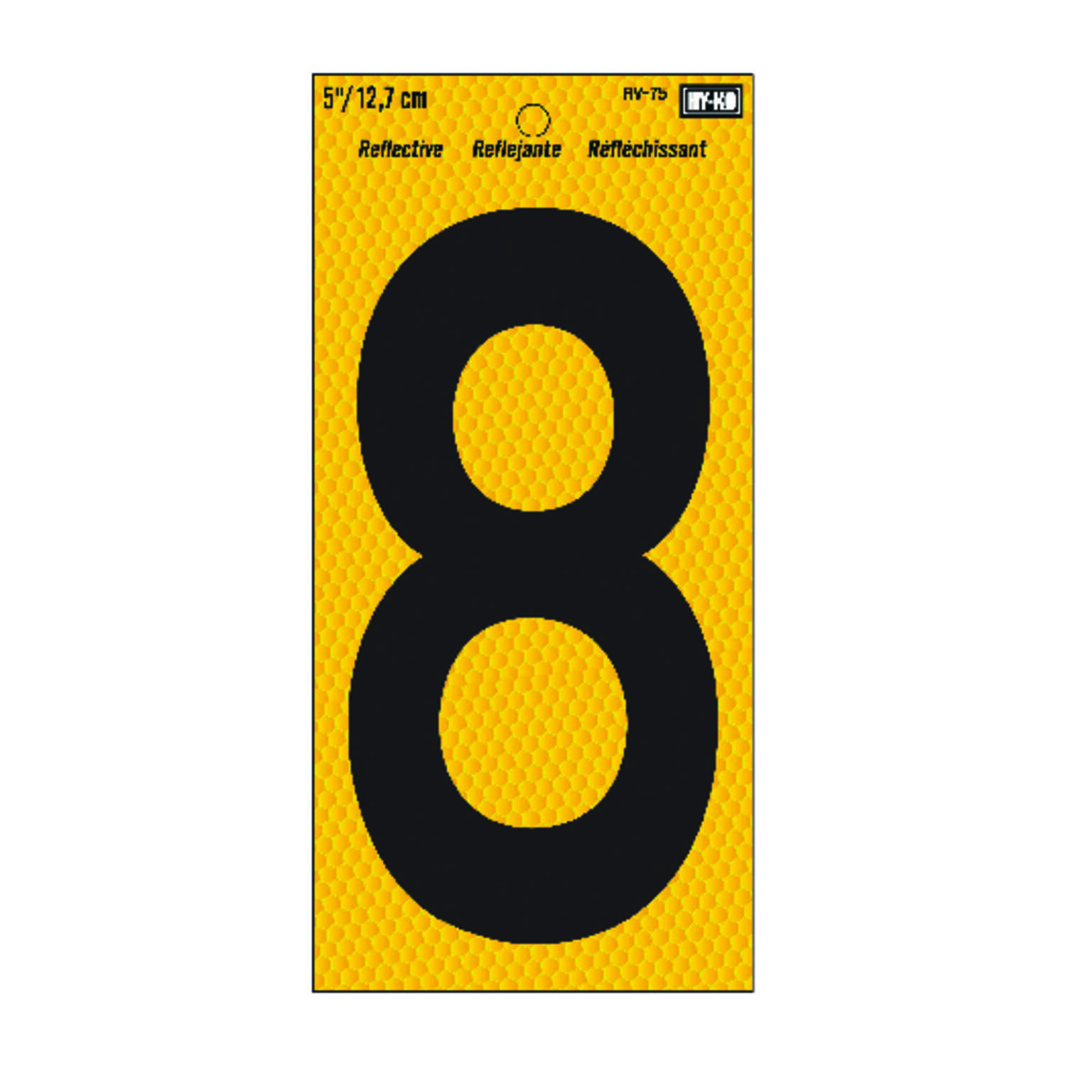 Hy-Ko  5 in. Reflective Vinyl  Black  8  Number  Self-Adhesive
