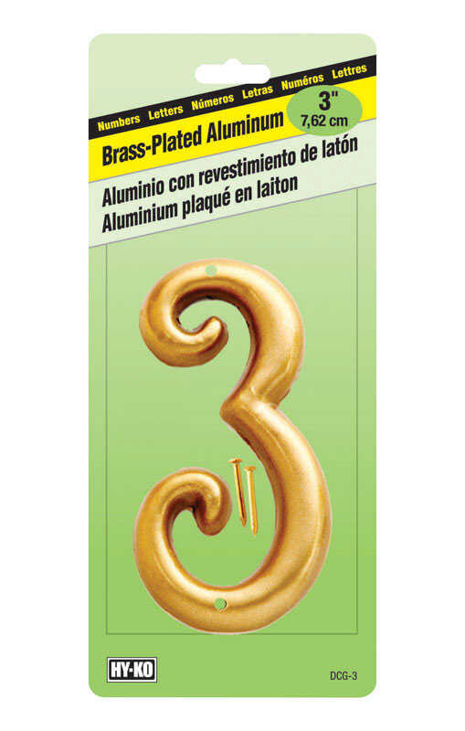 Hy-Ko  Aluminum  3 in. 3  Number  Nail-On  Brass Plated