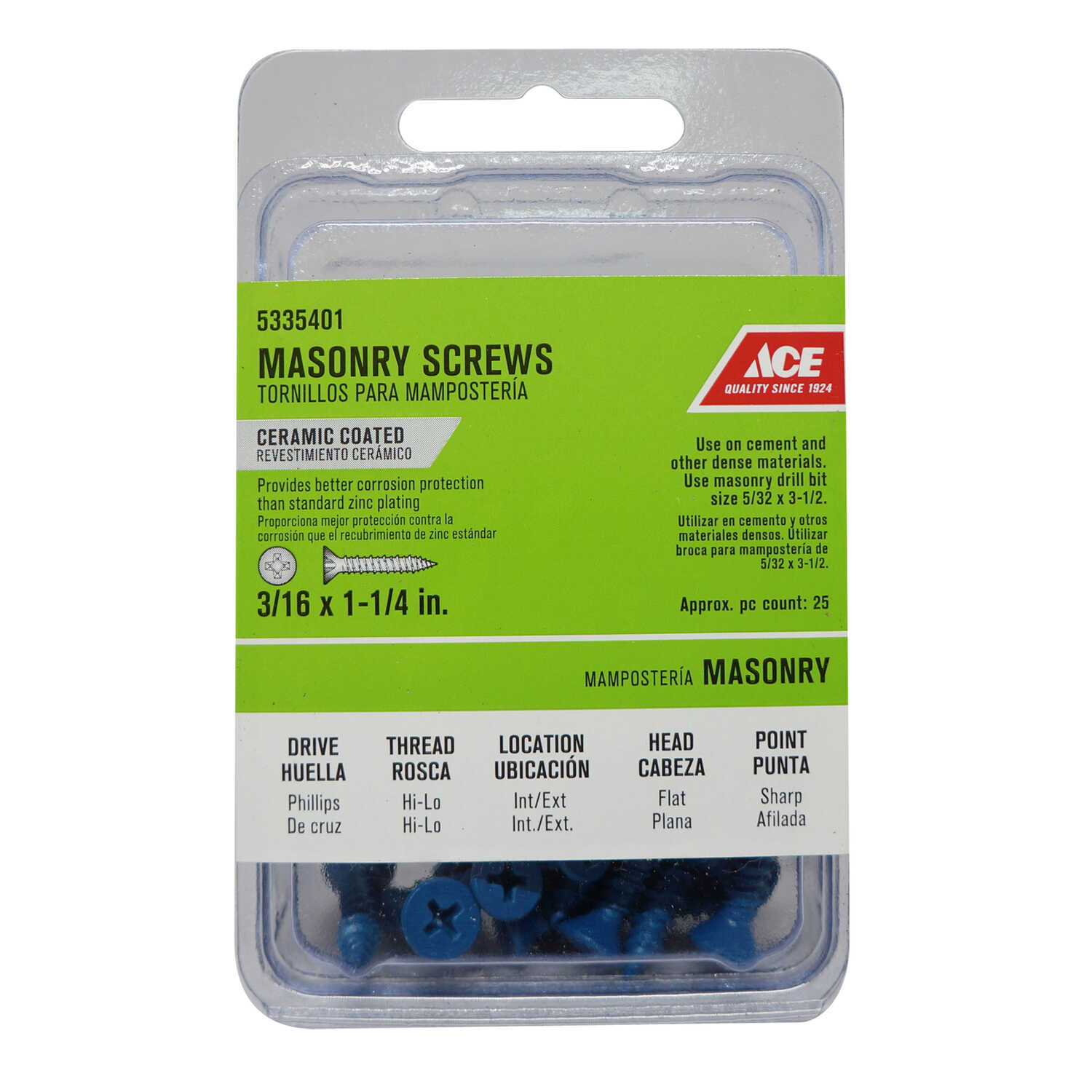 Ace  3/16 in.   x 1-1/4 in. L Phillips  Flat Head Ceramic  Steel  Masonry Screws  25 pk