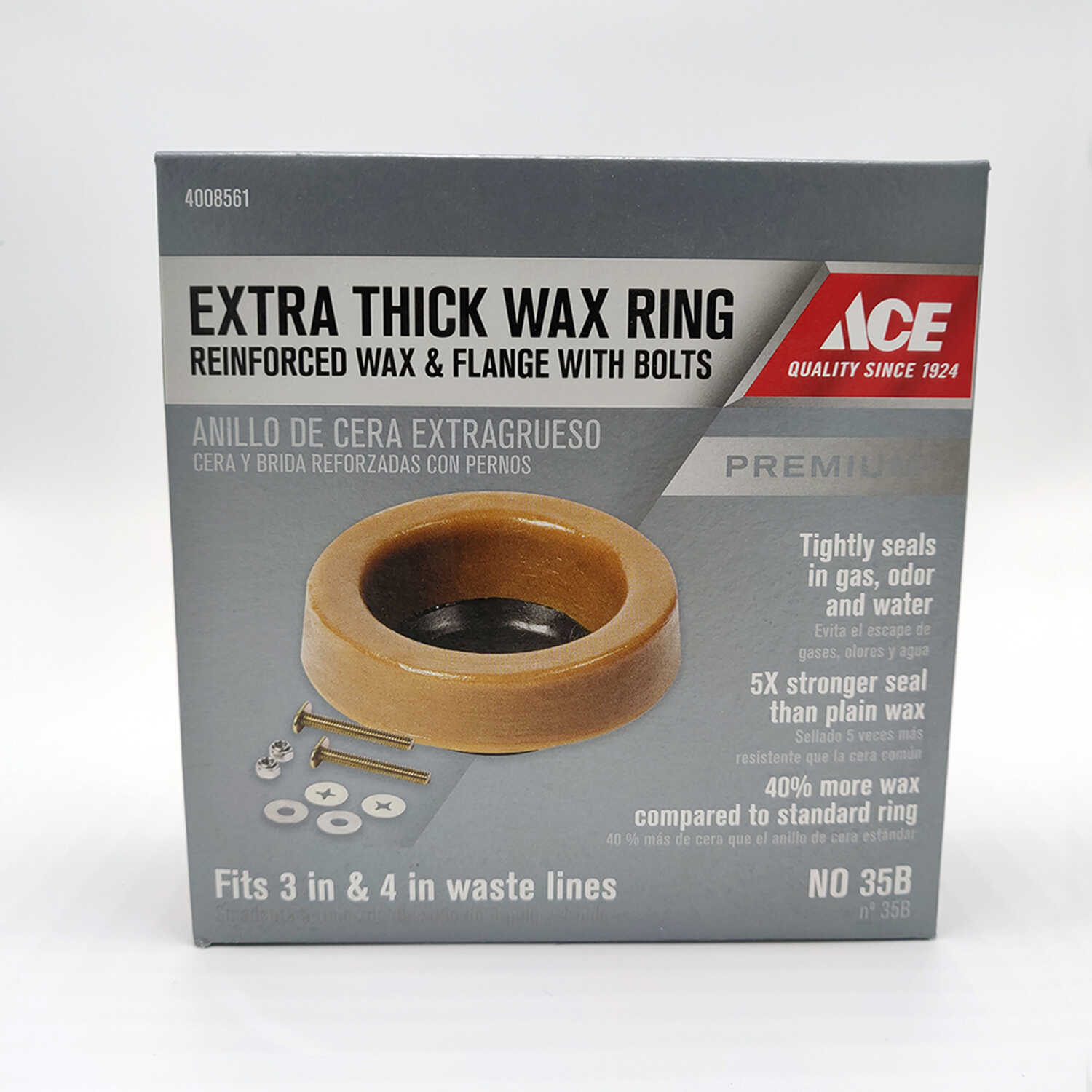 Ace  Toilet Bowl Gasket With Flange  3 ID  4 OD