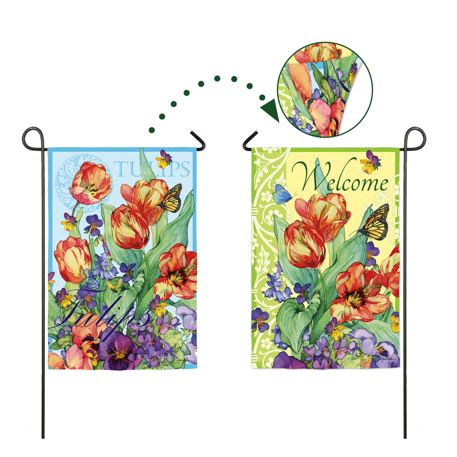 Meadow Creek  Spring Flowers  18 in. H x 12-1/2 in. W Garden Flag