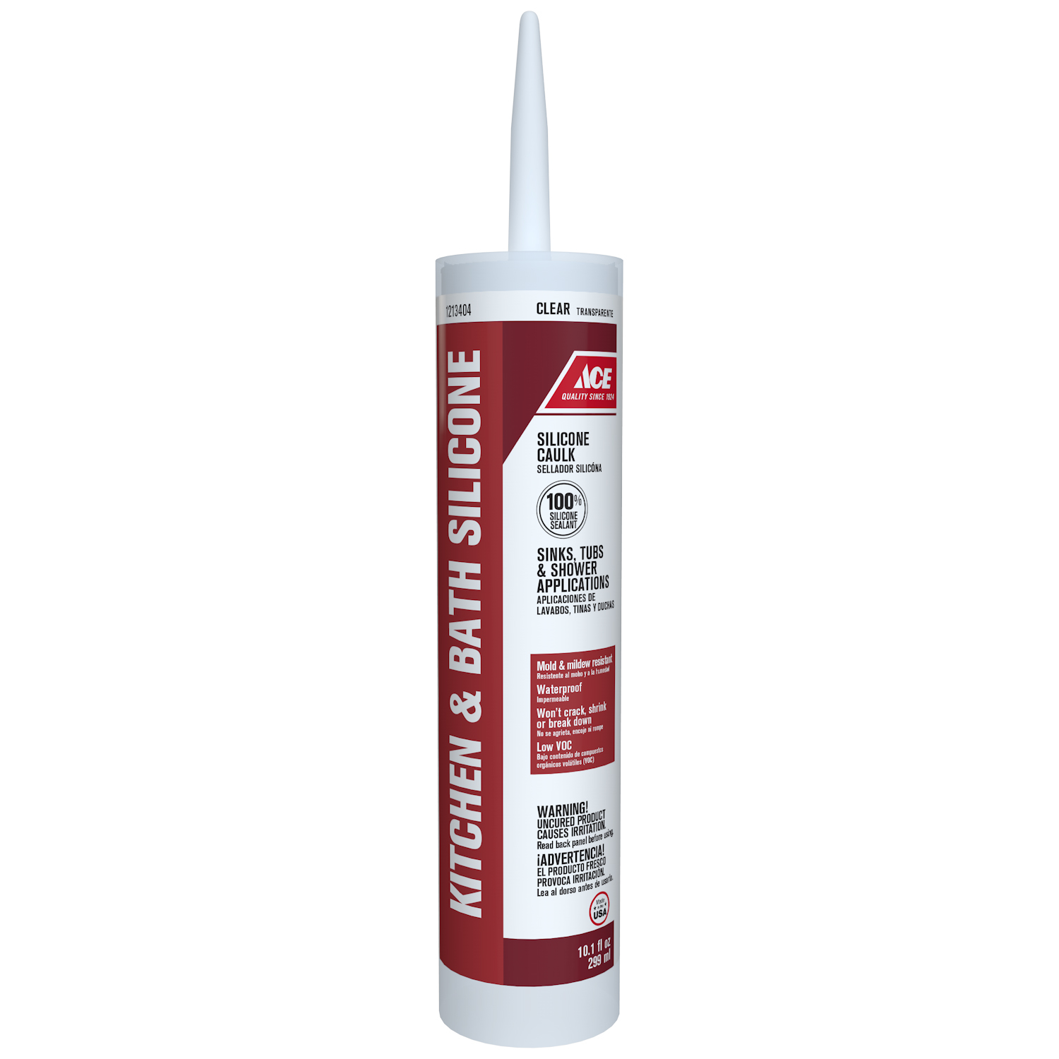 Ace  Silicone  Clear  10.1 oz. Tub & Tile Caulk