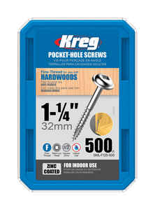 Kreg Tool  No. 7   x 1-1/4 in. L Square  Zinc-Plated  Steel  Pocket-Hole Screw  500 pk Washer Head