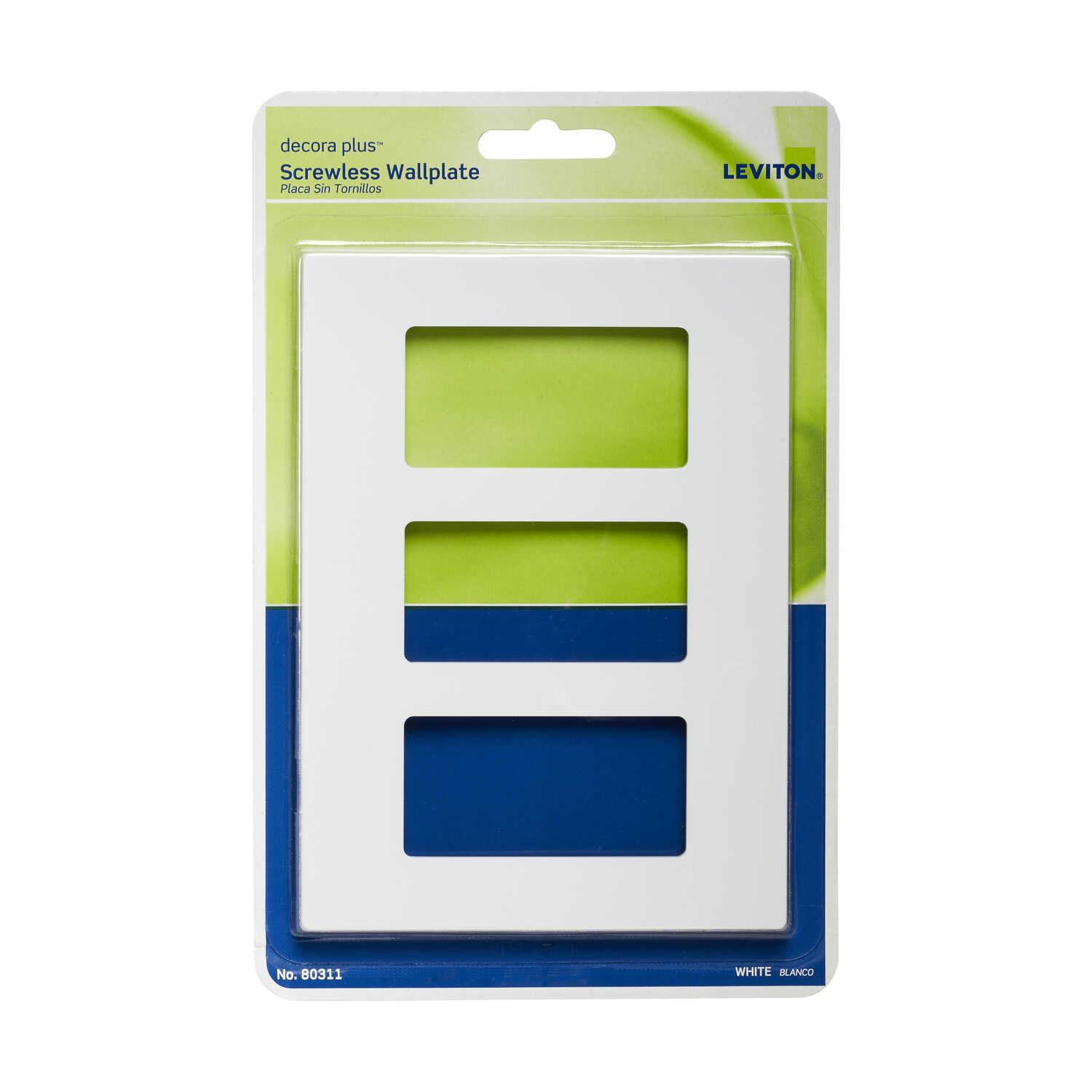 Leviton  Decora Plus  White  3 gang Polycarbonate  Rocker  Screwless Wall Plate  1 pk