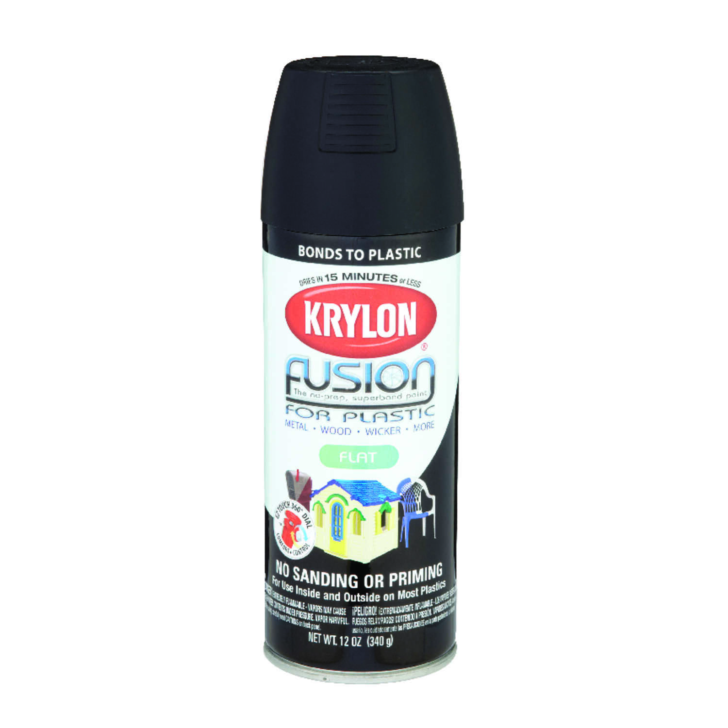Krylon  Flat  Fusion Spray Paint  Black  12 oz.