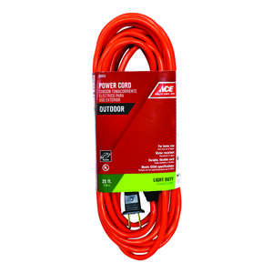 Ace  25 ft. L Orange  Extension Cord  16/2 SJTW  Indoor and Outdoor