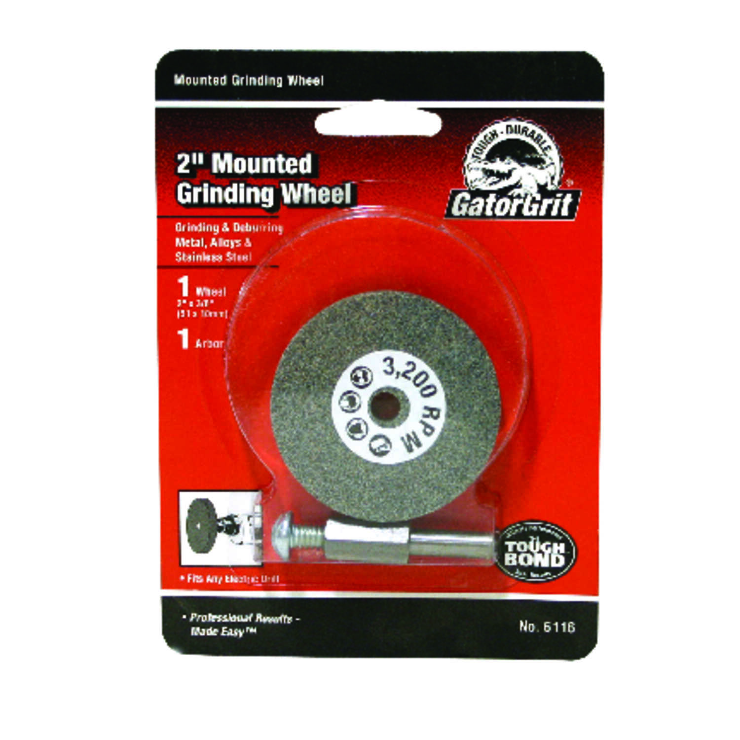 Gator  2 in. Dia. x 3/8 in. thick  x 1/4 in.   Grinding Wheel  3200 rpm 1 pc.