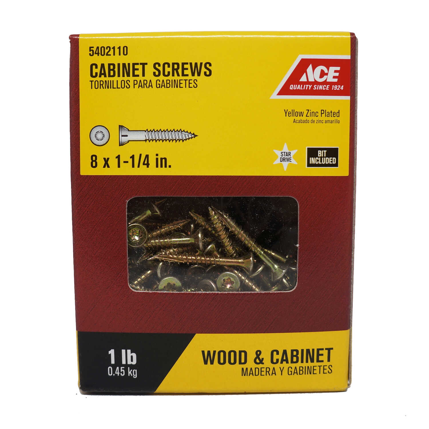 Ace  No. 8   x 1-1/4 in. L Star  Yellow Zinc-Plated  Cabinet Screws  1 lb. 230 pk