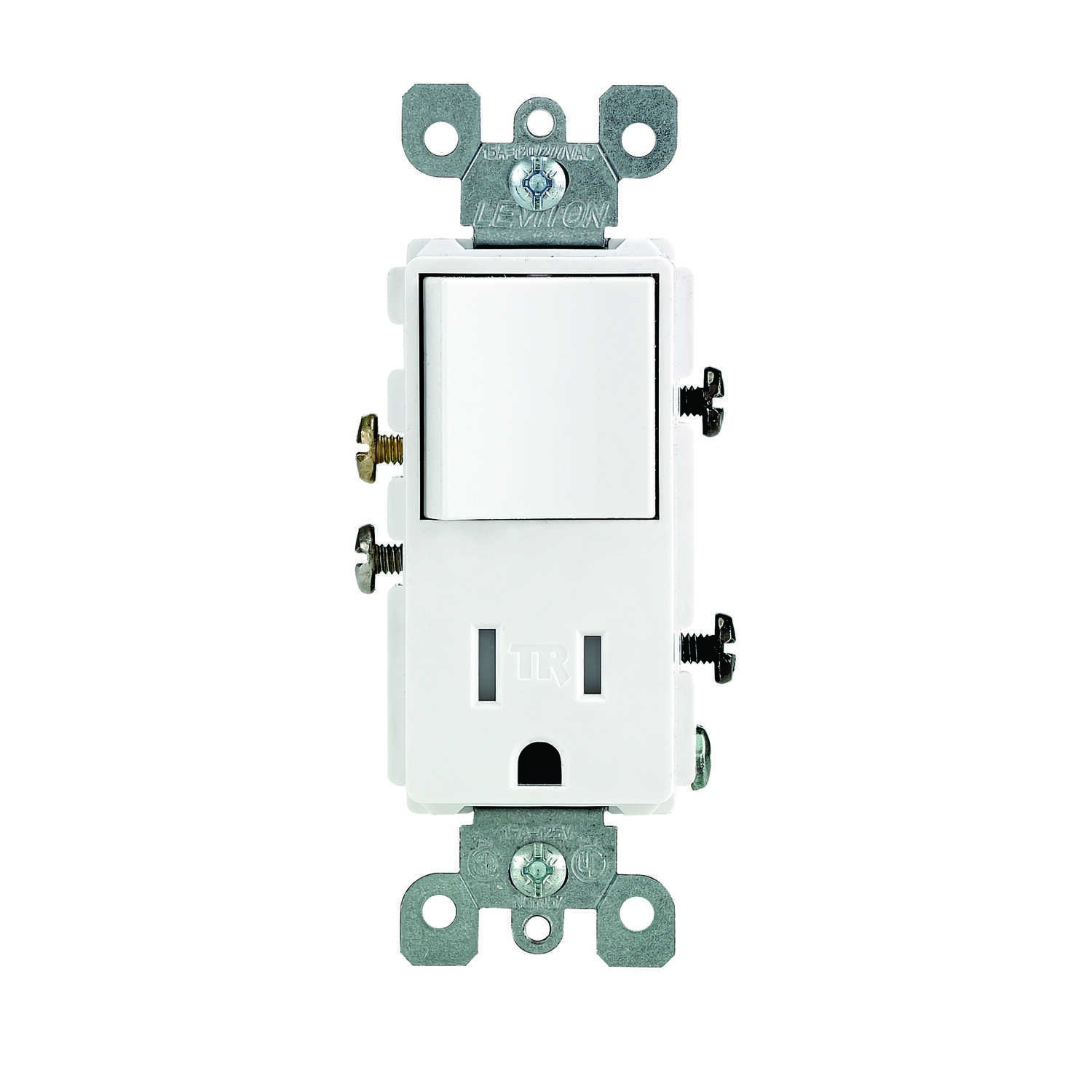 Leviton  Decora  15 amps 125 volt White  Combination Switch/Outlet  5-15 R  1 pk