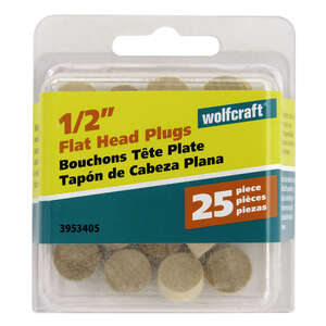 Wolfcraft  Flat  Birch  Flat Head Plug  1/2 in. Dia. x 1/4 in. L 25 pk Natural