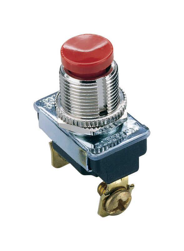 Gardner Bender  3 amps Momentary Switch  Red/Silver  Momentary  1