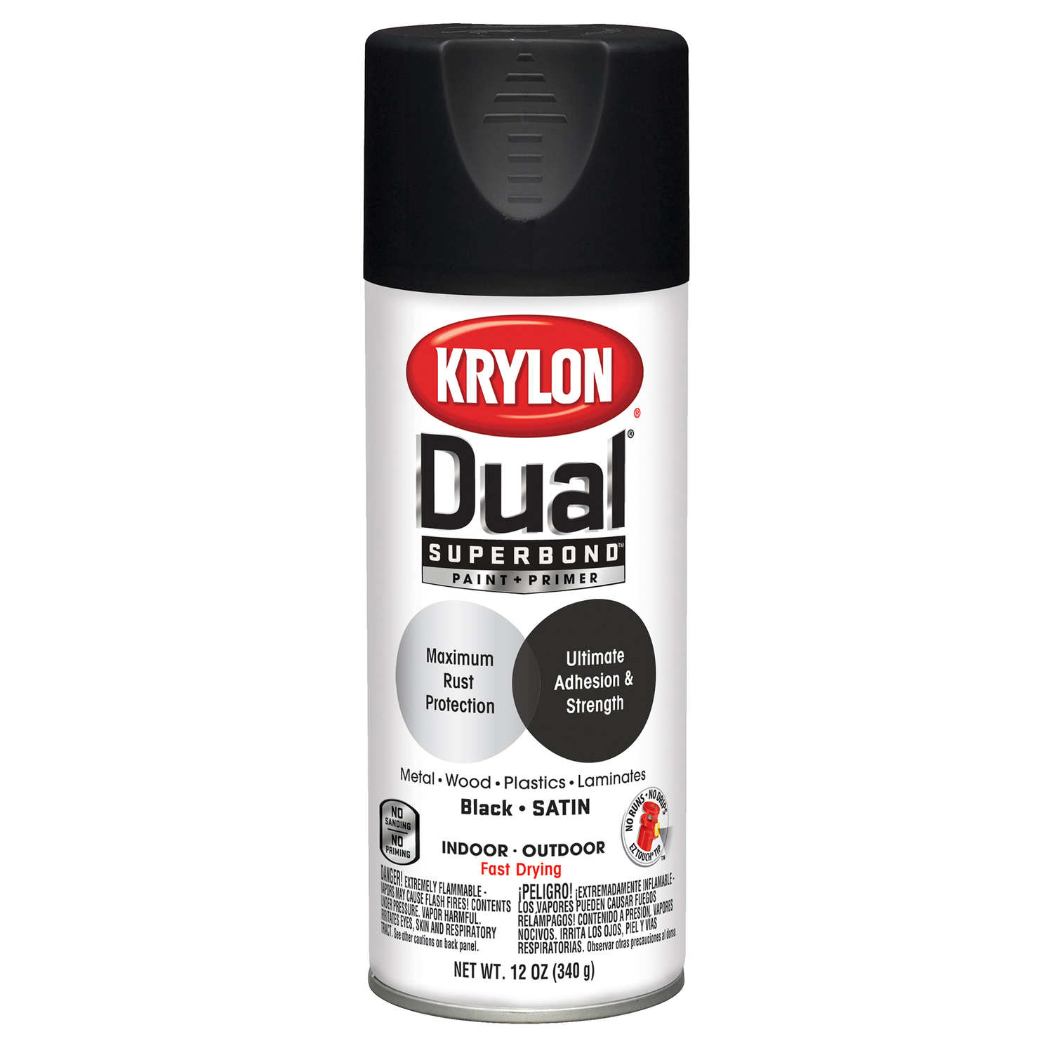 Krylon  Dual Superbond  Satin  Paint + Primer Spray  12 oz. Black