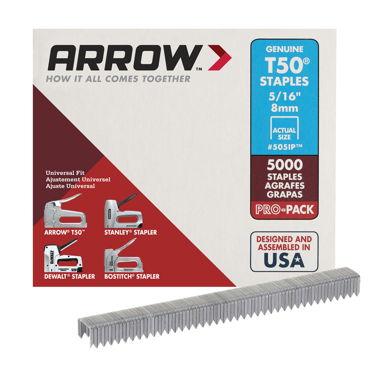 Arrow Fastener  T50  3/8 in. W x 5/16 in. L 18 Ga. Flat Crown  Heavy Duty Staples  5000 pk