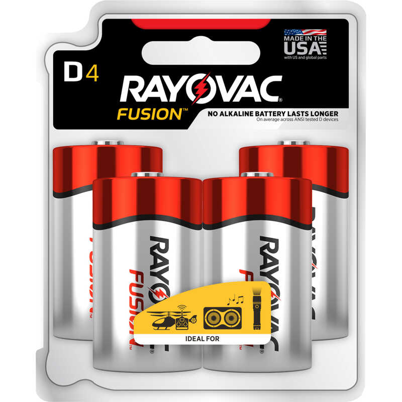 Rayovac  Fusion  D  Alkaline  Batteries  4 pk Carded
