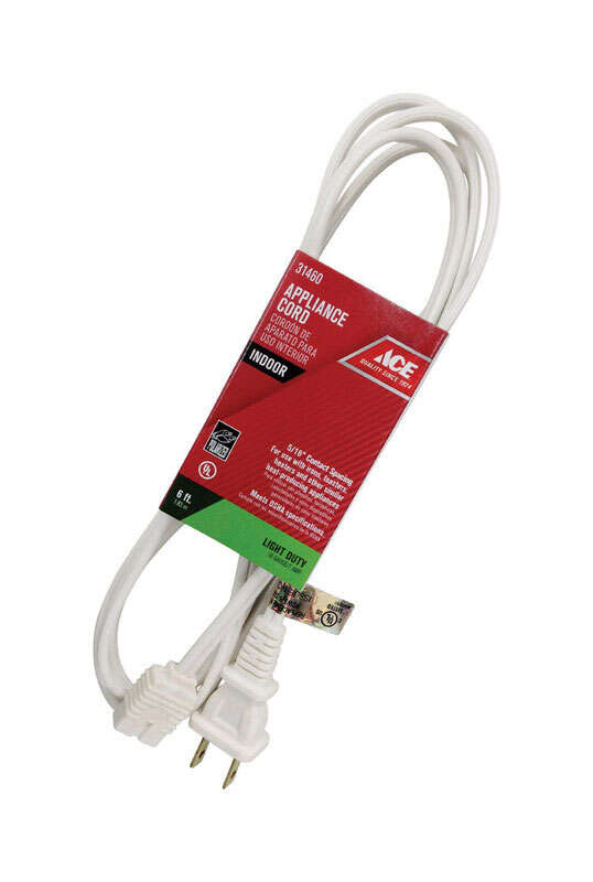 Ace  18/2 SPT-2  125 volt 6 ft. L Appliance Cord