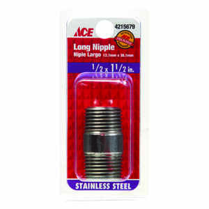 Smith-Cooper  1/2 in. MPT   x 1/2 in. Dia. x 1-1/2 in. L MPT  Stainless Steel  Pipe Nipple