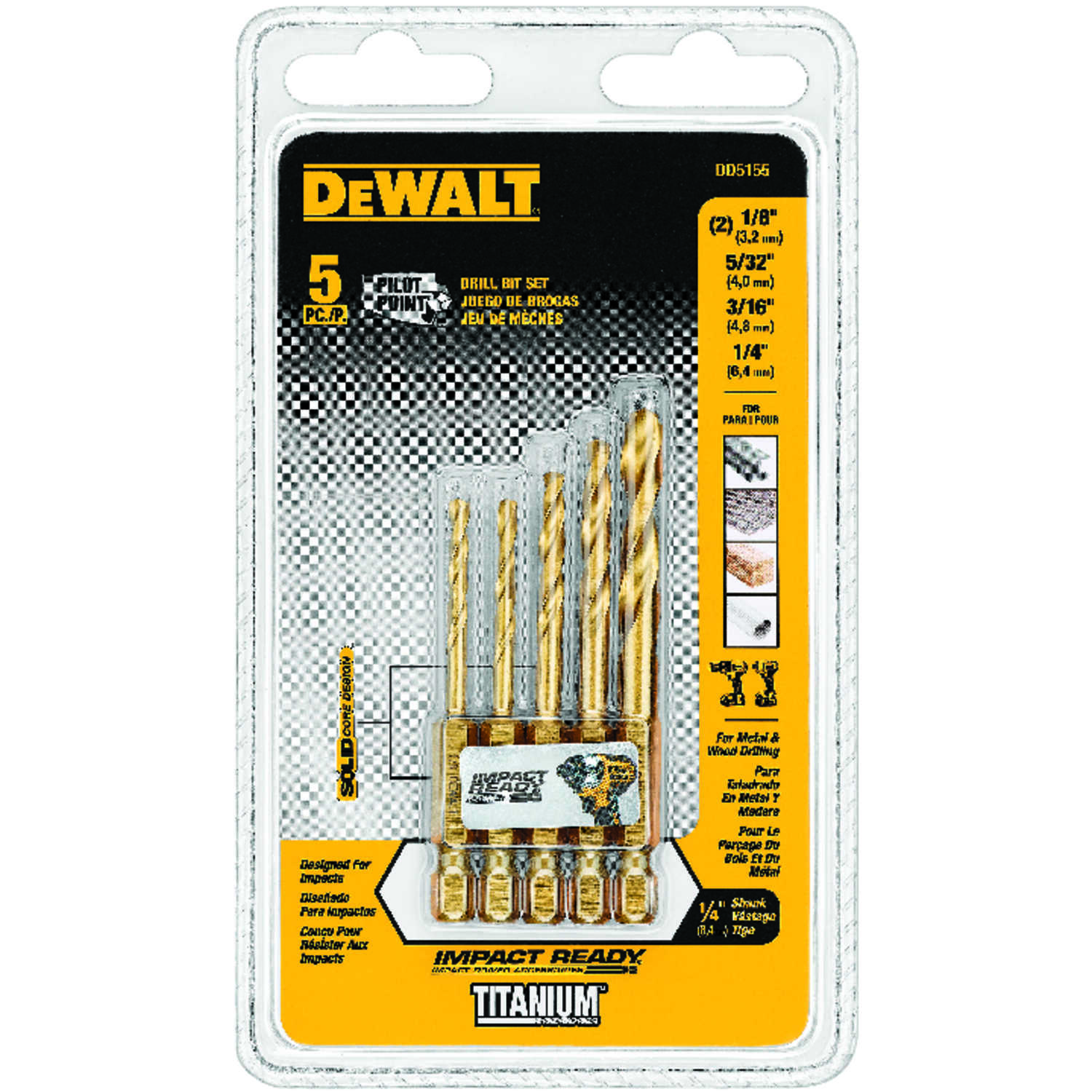 DeWalt  Titanium  Multi Size in. Dia. x Multi-Size  L High Speed Steel  Drill Bit Set  5 pc.