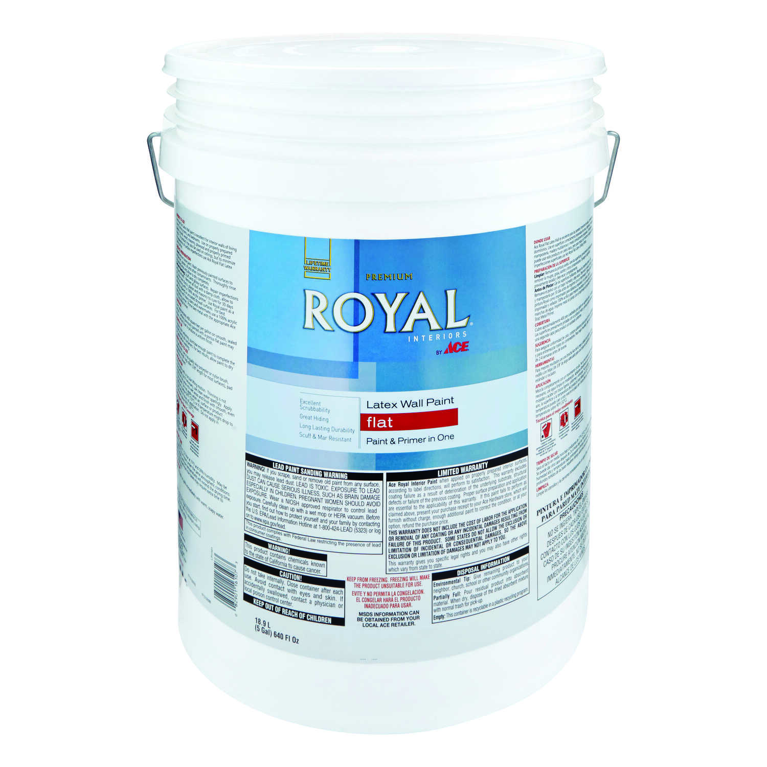 Ace  Royal  Flat  Ultra White  Vinyl Acetate/Ethylene  Paint  5 gal.