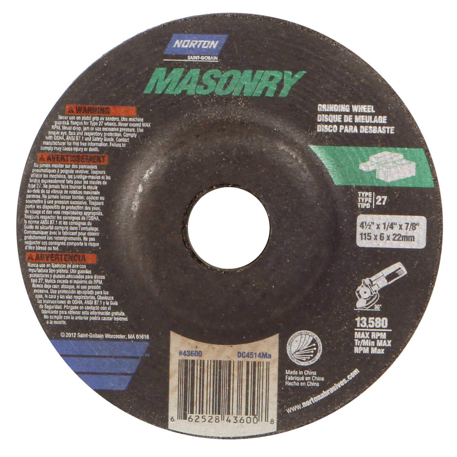 Norton  4-1/2 in. Dia. x 1/4 in. thick  x 7/8 in.   Silicon Carbide  Grinding Wheel  13580 rpm 1 pc.