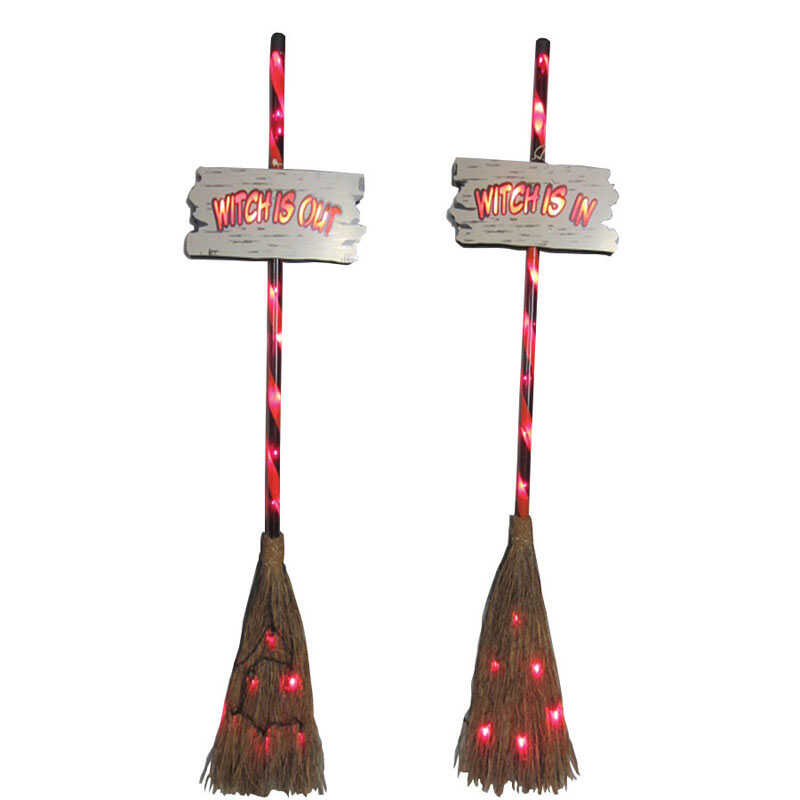 Citi-Talent  Witches' Broom  Lighted Halloween Decoration  48 in. H x 1.25 in. W x 13.5 in. L 2 pk