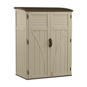 Suncast  71-1/2 in. H x 53 in. W x 32-1/2 in. D Sand  Vertical Storage Shed  Resin