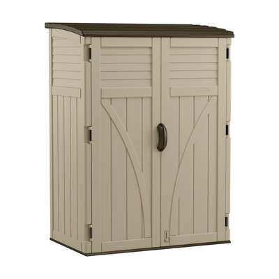 Suncast  6  H x 4.4  W x 2.7  D Sand  Resin  Vertical Storage Shed