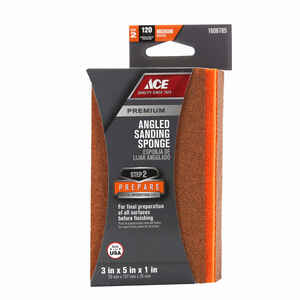 Ace  5 in. L x 3 in. W Medium  Angled  Sanding Sponge  120 Grit