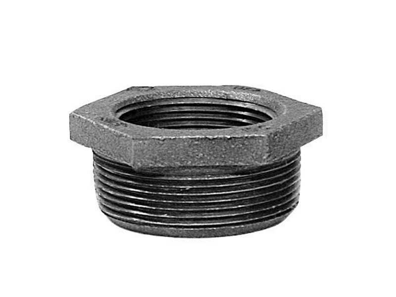 B & K  2 in. MPT   x 1-1/4 in. Dia. FPT  Galvanized  Malleable Iron  Hex Bushing