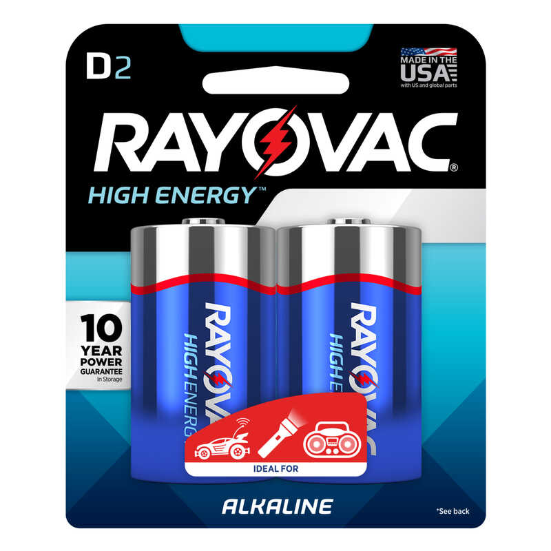 Rayovac  D  Alkaline  Batteries  2 pk Carded  1.5 volts