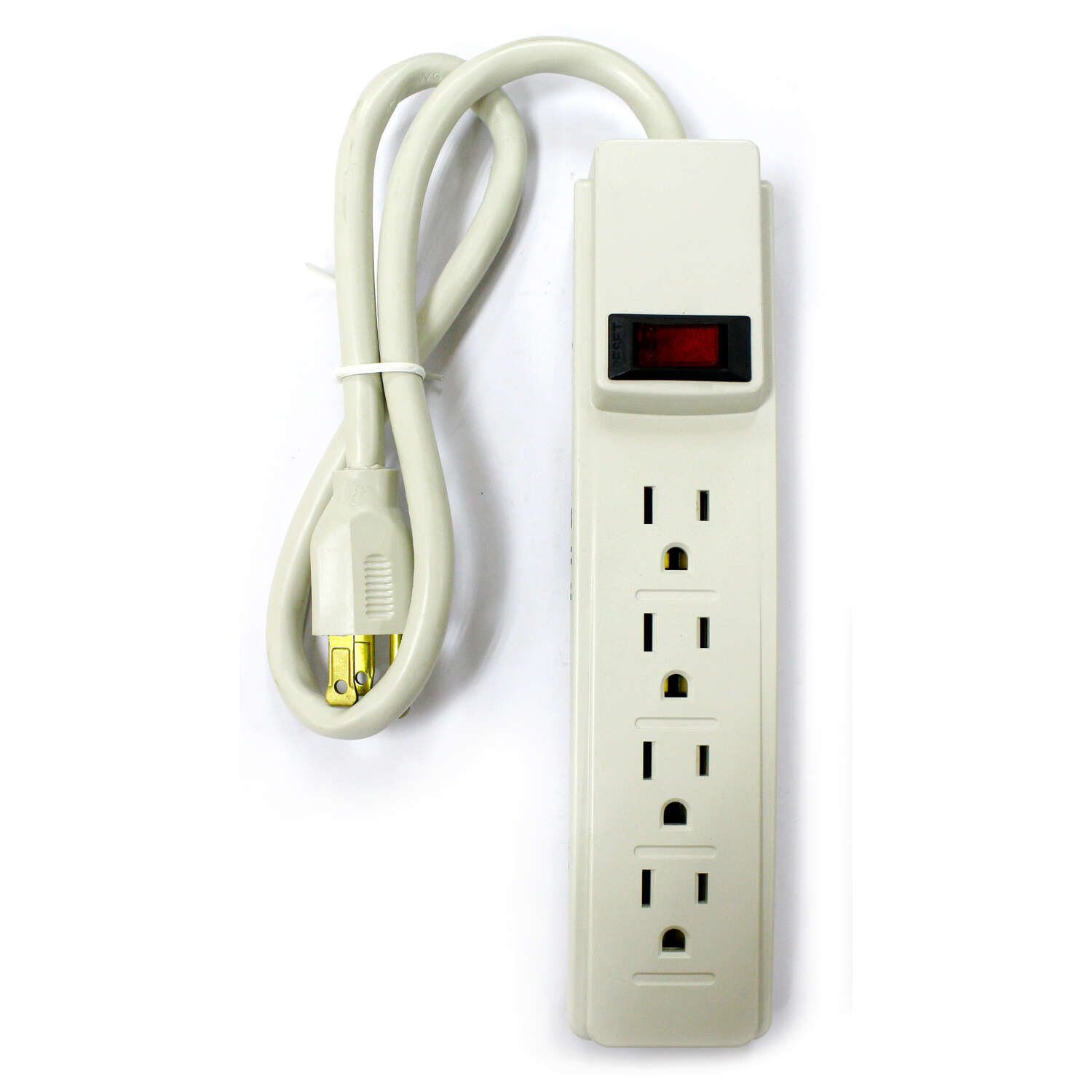 Home Plus  2 ft. L 4 outlets Power Strip  Gray