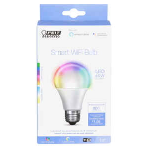 FEIT Electric  A19  E26 (Medium)  Smart WiFi LED Bulb  Color Changing  60 Watt Equivalence 1 pk