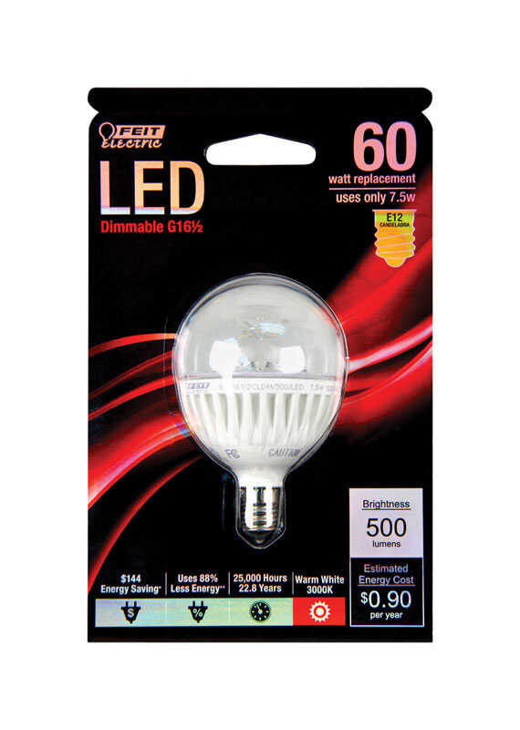FEIT Electric  7.5 watts G16.5  LED Bulb  500 lumens Warm White  Globe  60 Watt Equivalence