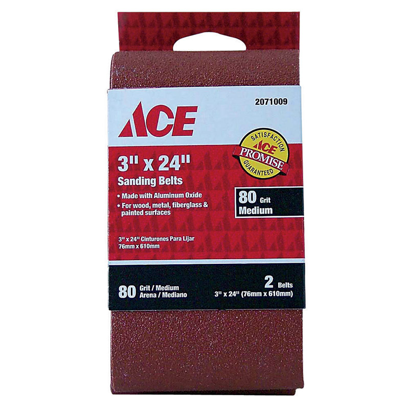 Ace  24 in. L x 3 in. W Aluminum Oxide  Sanding Belt  80 Grit Medium  2 pk