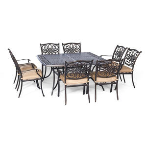 Hanover  Traditions  9 pc. Bronze  Aluminum  Dining  Patio Set  Tan