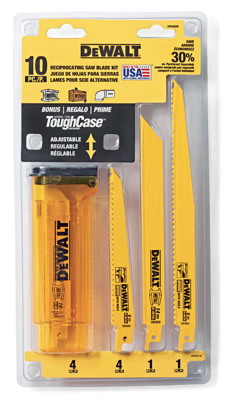 DeWalt  6 in. Bi-Metal  Reciprocating Saw Blade Set  Multi TPI 10 pk