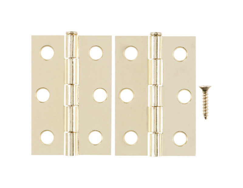 Ace  2.75 in. W x 2-1/2 in. L Bright Brass  Brass  Narrow Hinge  2 pk
