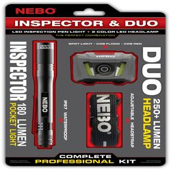 NEBO  Inspector/Duo  Black  LED  Flashlight/Headlight Combo Pack  AAA Battery