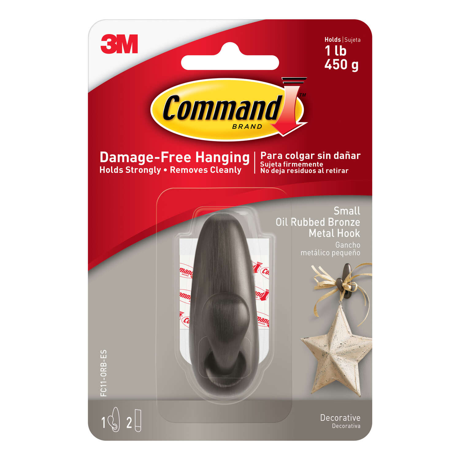 3M  Command  2-5/8 in. L Oil Rubbed Bronze  Metal  Small  Coat/Hat Hook  1 lb. 1 pk Forever Classic
