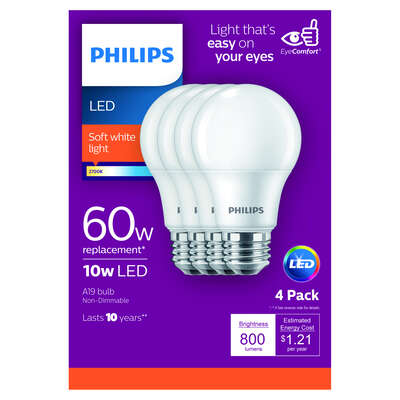 Philips A19 E26 (Medium) LED Bulb Soft White 60 Watt Equivalence 4 pk