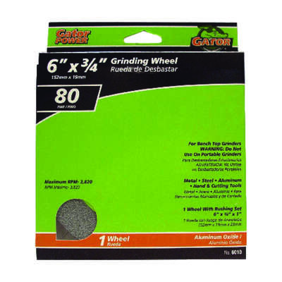 Gator 6 in. Dia. x 3/4 in. thick x 1 in. Grinding Wheel 1 pc.