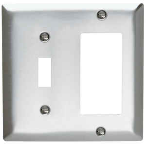 Pass & Seymour  Silver  2 gang Stainless Steel  GFCI/Rocker/Toggle  Wall Plate  1 pk
