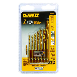 DeWalt  Titanium  Multi Size in. Dia. x Multi-Size  L High Speed Steel  Drill Bit Set  7 pc.