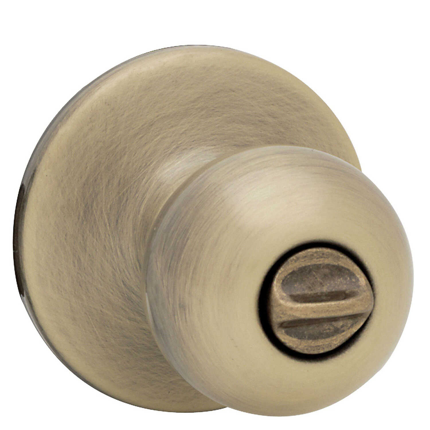 Kwikset  Polo  Antique Brass  Steel  Privacy Lockset  ANSI/BHMA Grade 3  1-3/4 in.