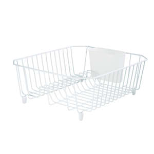 Rubbermaid  12.4 in. W x 14.3 in. L x 5.3 in. H Steel  Dish Drainer  White