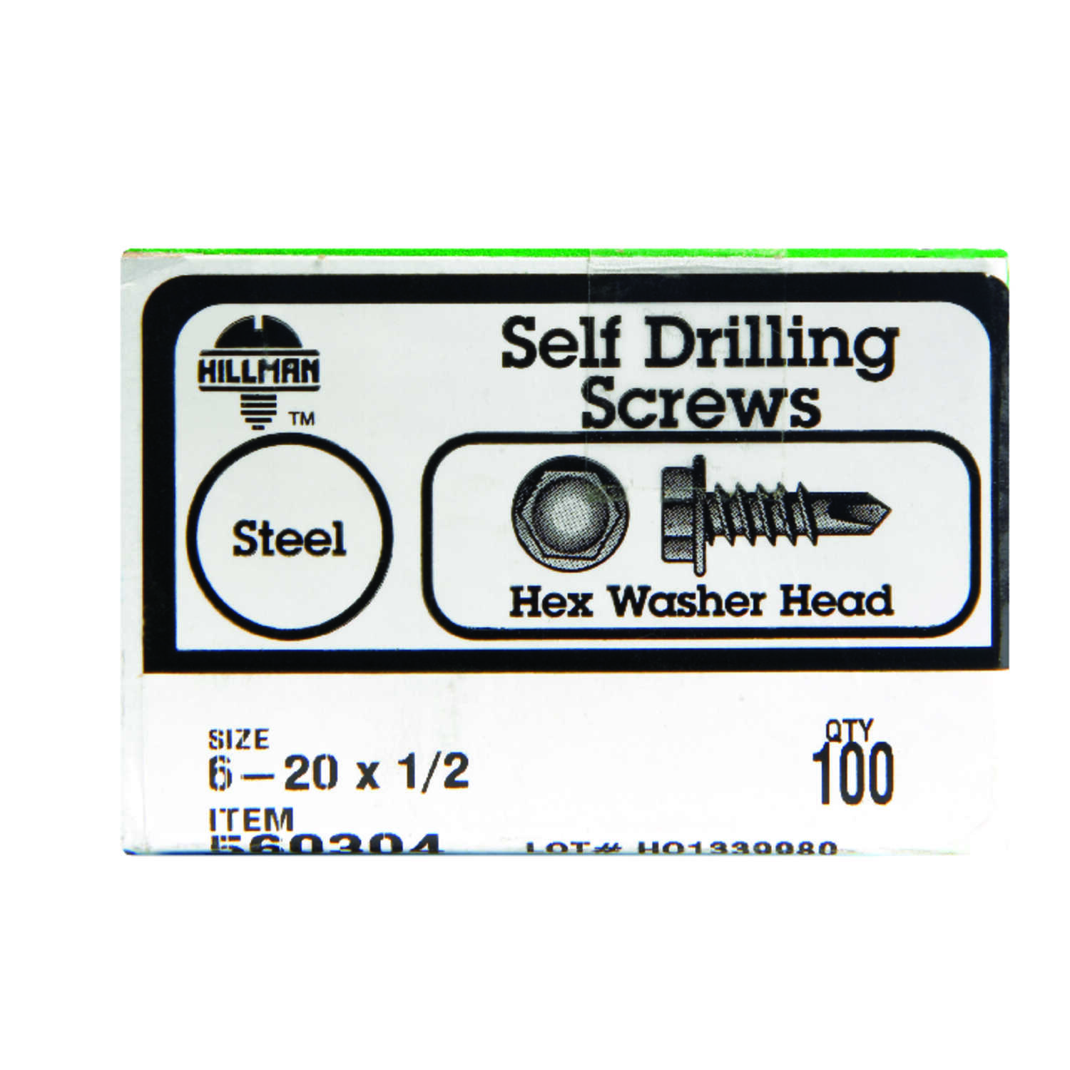 HILLMAN  6-20   x 1/2 in. L Zinc-Plated  Hex Washer Head Self- Drilling Screws  100 per box Steel