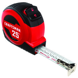 Craftsman  25 ft. L x 1 in. W Tape Measure  Black  1 pk