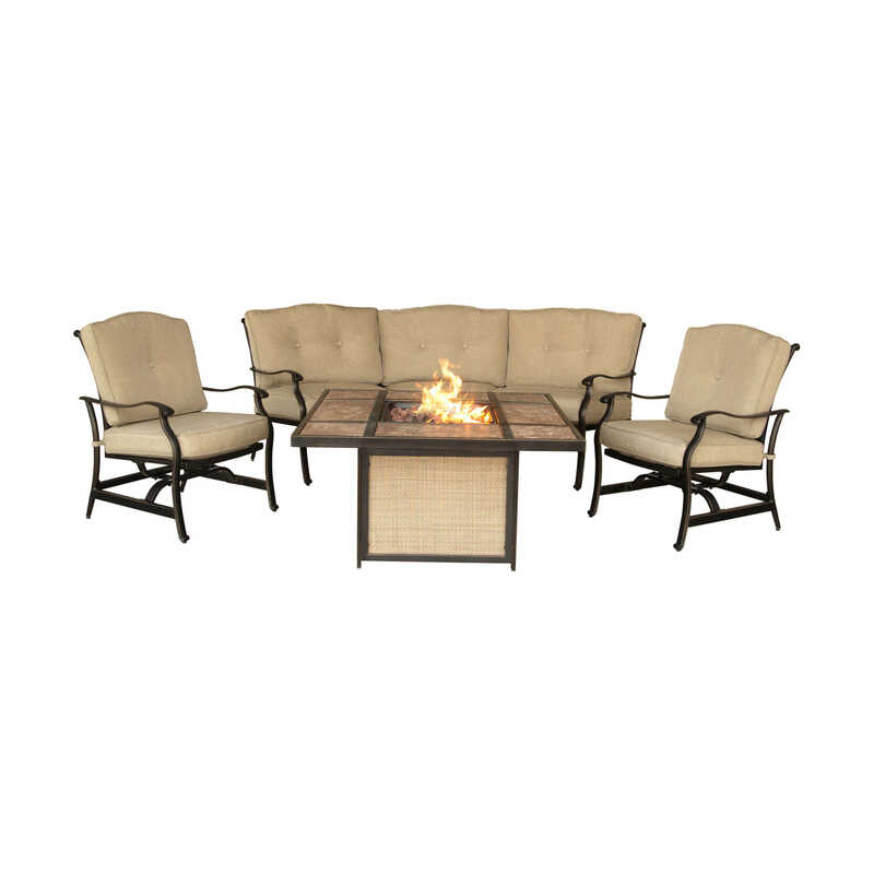 Hanover  5 pc. Bronze  Aluminum  Firepit Set  Tan