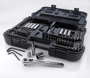 Craftsman  3/8 in.  x 1/4 and 3/8 in. drive  Metric and SAE  6 and 12 Point Mechanic's Tool Set  104