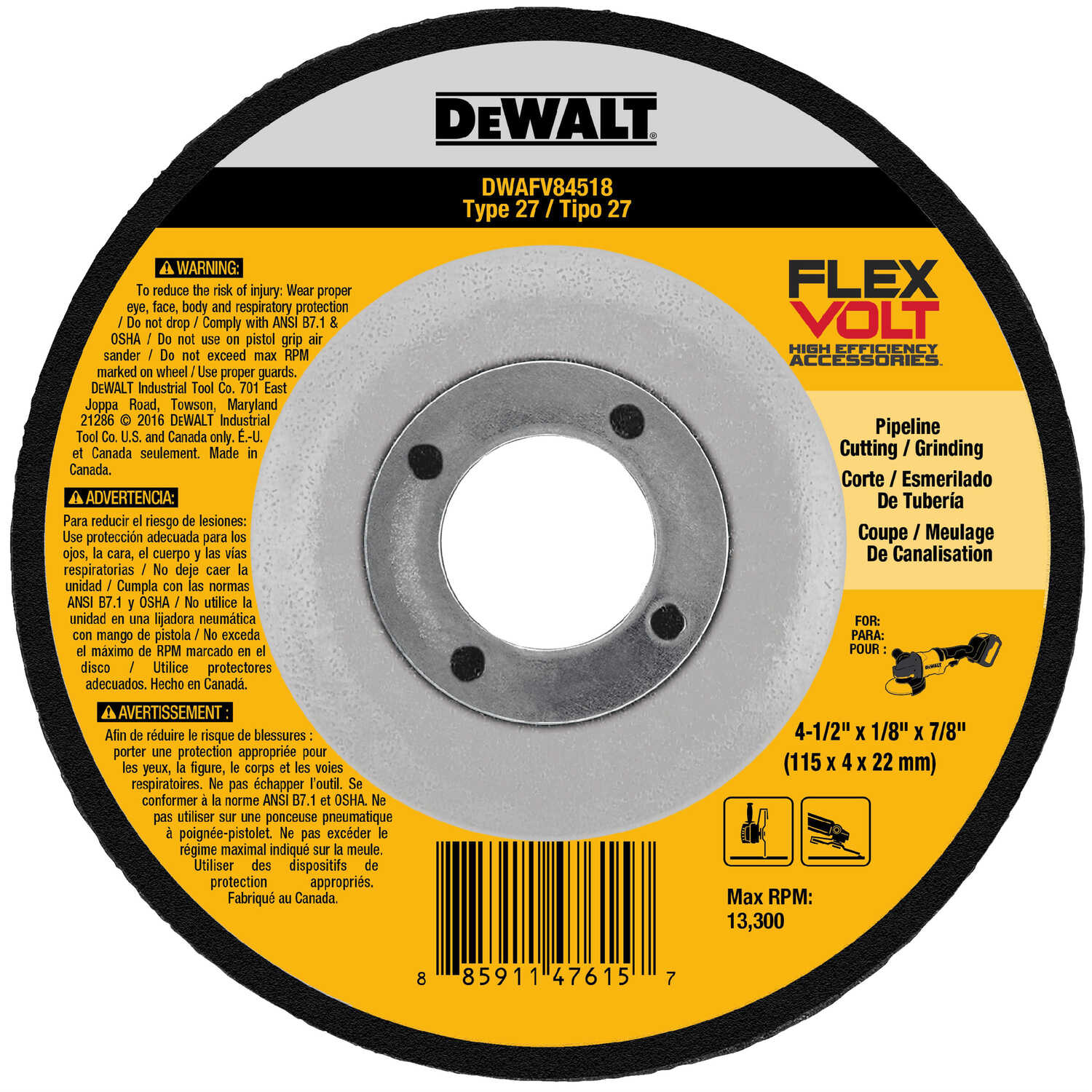 DeWalt  4-1/2 in. 7/8 in. in.  Ceramic  Cut-Off Wheel  1 pc.