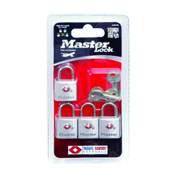 Master Lock 7/8 in. H x 7/16 in. W x 7/8 in. L Steel Key Luggage Lock 4 pk Keyed Alike